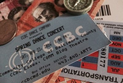 Close up of a Spring Dance Concert ticket