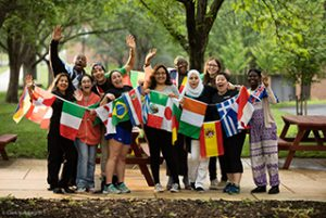 International students gather in the quad on campus.